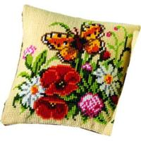 Butterfly on a Posy Cushion Front Tapestry Kit Vervaco